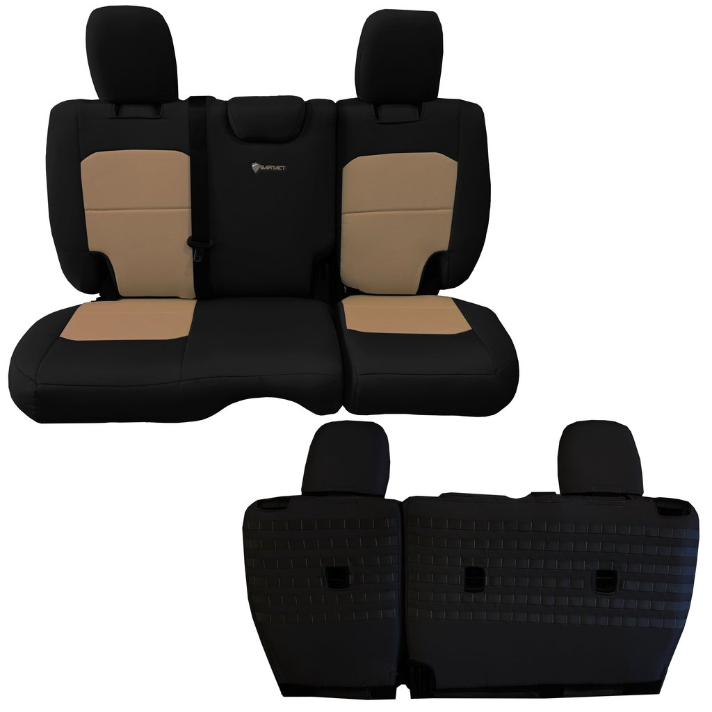 Bartact Tactical Rear Bench Seat Covers 4 Door 18-Present  JL No Fold Down Armrest Only Black/Khaki