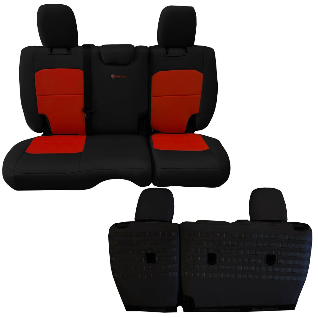 Bartact Tactical Rear Bench Seat Covers 4 Door 18-Present  JL No Fold Down Armrest Only Black/Orange