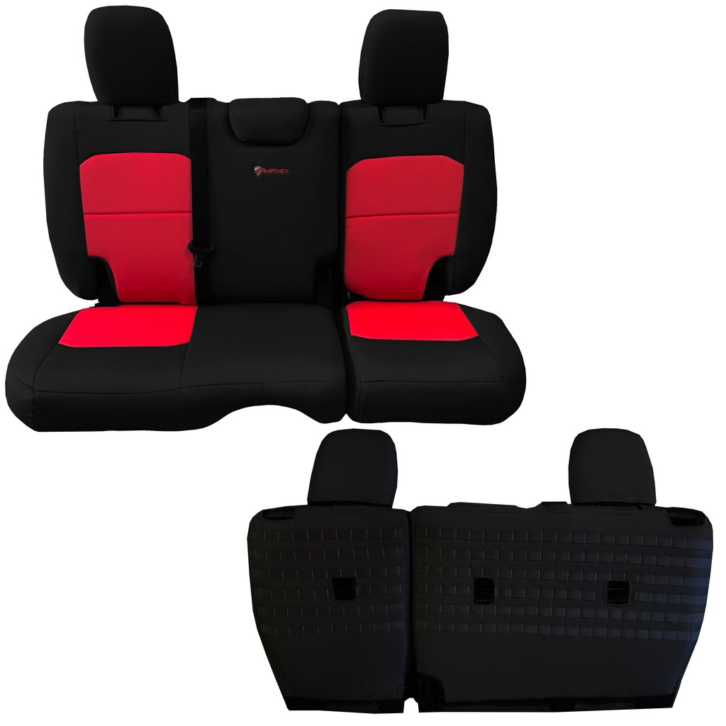 Bartact Tactical Rear Bench Seat Covers 4 Door 18-Present  JL No Fold Down Armrest Only Black/Red