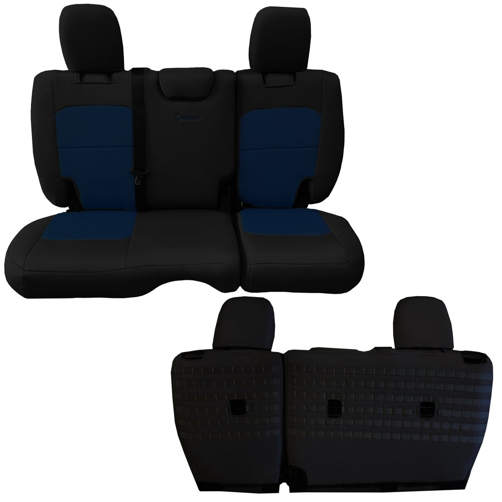 Bartact Tactical Rear Bench Seat Covers 4 Door 18-Present  JL No Fold Down Armrest Only Black/Navy