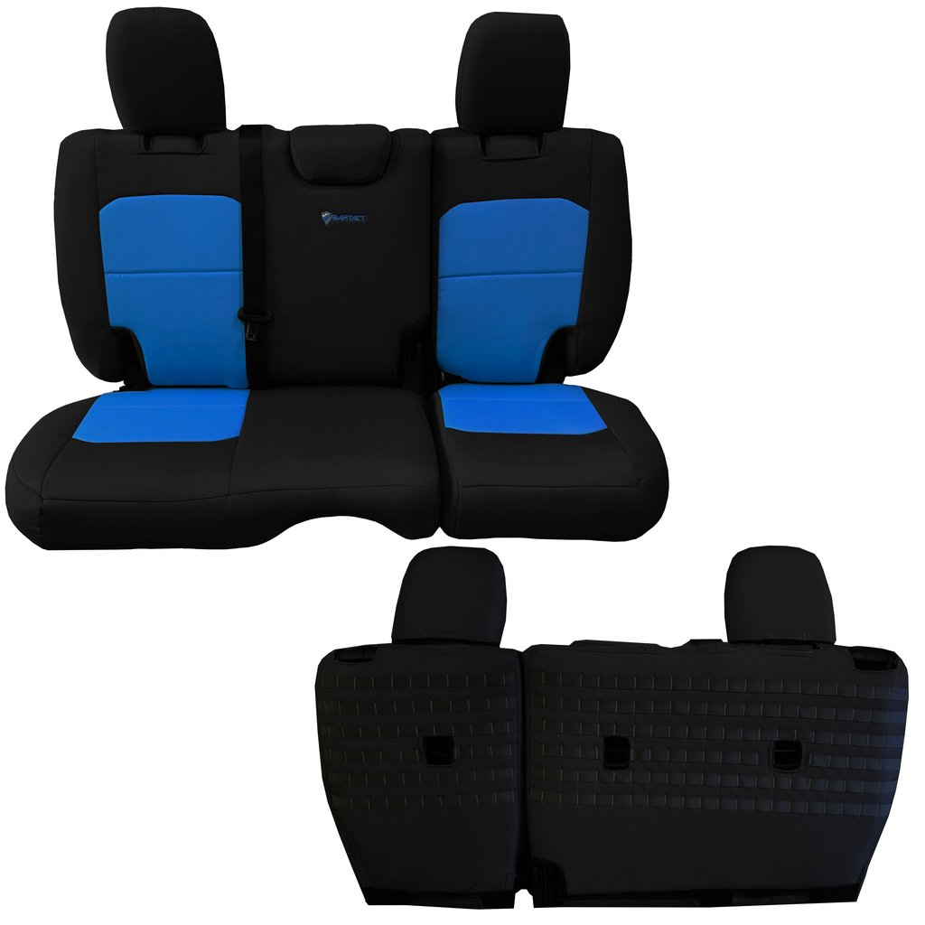 Bartact Tactical Rear Bench Seat Covers 4 Door 18-Present  JL No Fold Down Armrest Only Black/Blue