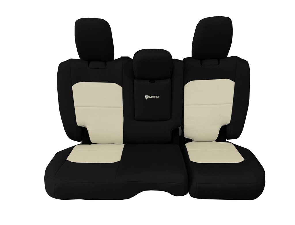 Bartact Tactical Rear Bench Seat Covers 4 Door 18-Present  JL w/ Fold Down Armrest Only Black/Khaki