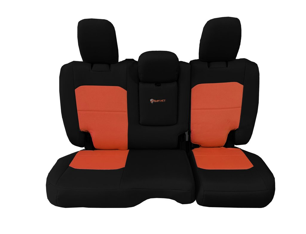 Bartact Tactical Rear Bench Seat Covers 4 Door 18-Present  JL w/ Fold Down Armrest Only Black/Orange