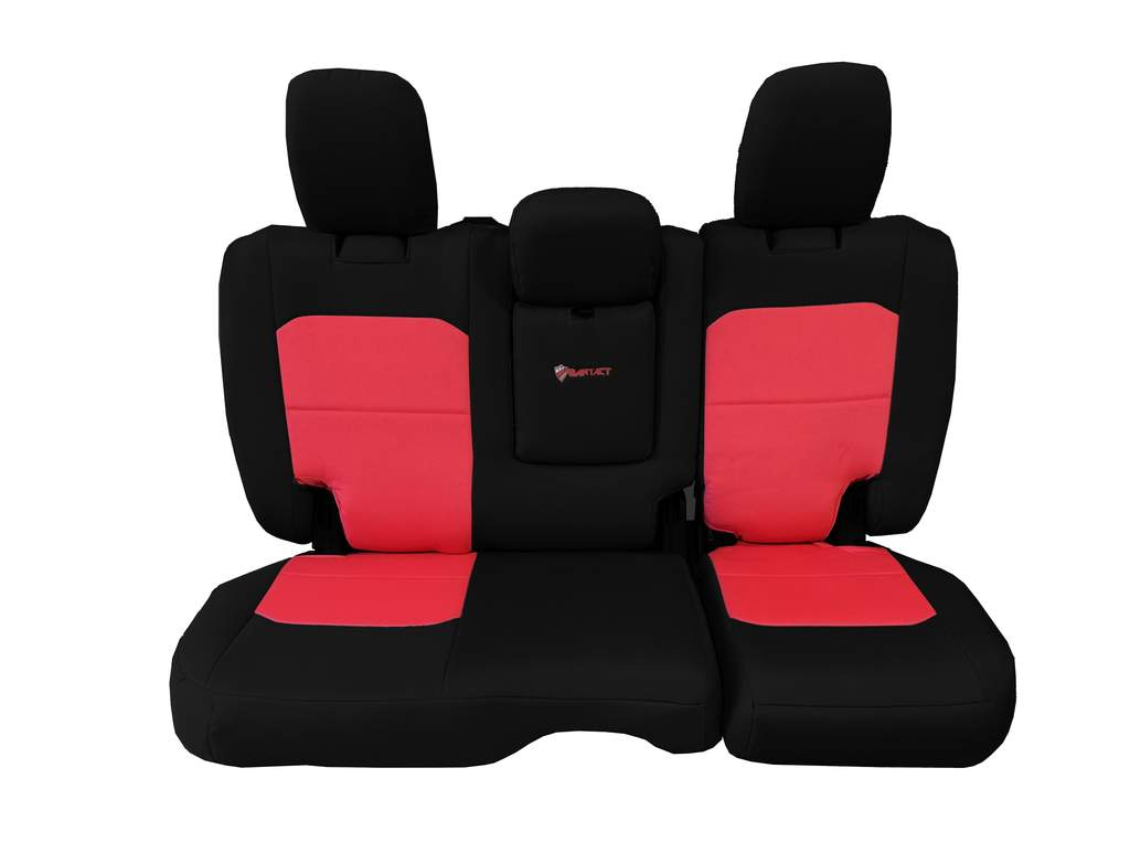Bartact Tactical Rear Bench Seat Covers 4 Door 18-Present  JL w/ Fold Down Armrest Only Black/Red