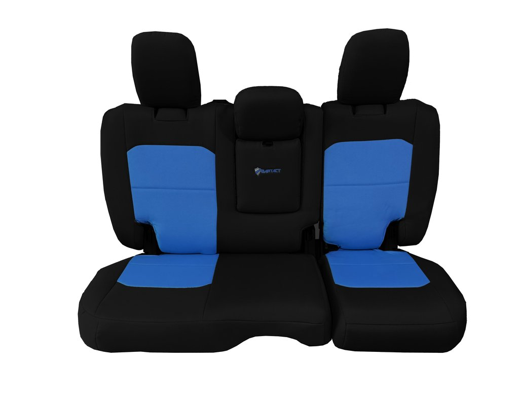 Bartact Tactical Rear Bench Seat Covers 4 Door 18-Present  JL w/ Fold Down Armrest Only Black/Blue
