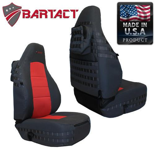Bartact Seat Covers Front 03-06  TJ Tactical Series Black/Red