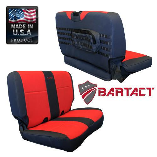 Bartact Seat Covers Rear Bench 03-06  TJ Tactical Series Black/Red