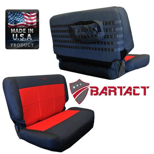 Bartact Rear Tactical Series Black/Orange Seat Covers - 97-02  TJ