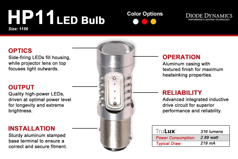 1156 LED Bulb HP11 LED Cool White Pair Diode Dynamics