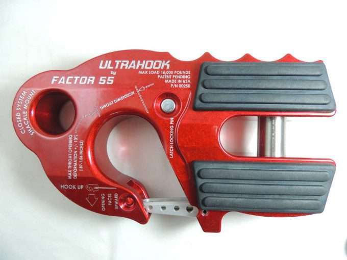 UltraHook Winch Hook W/Shackle Mount Red Factor 55