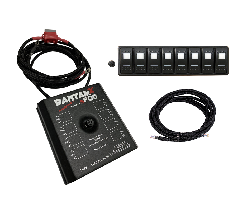 SPod BantamX Modular w/36in Battery Cables, Red Switches