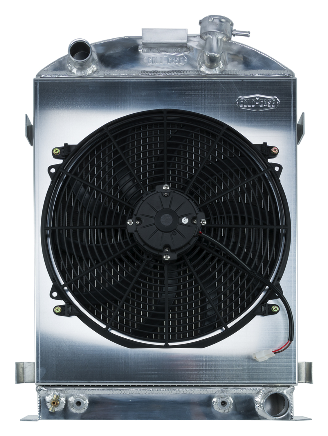Cold Case 1932 Highboy Chevy Engine 27 Inch Aluminum Performance Radiator And 16 Inch Fan Kit