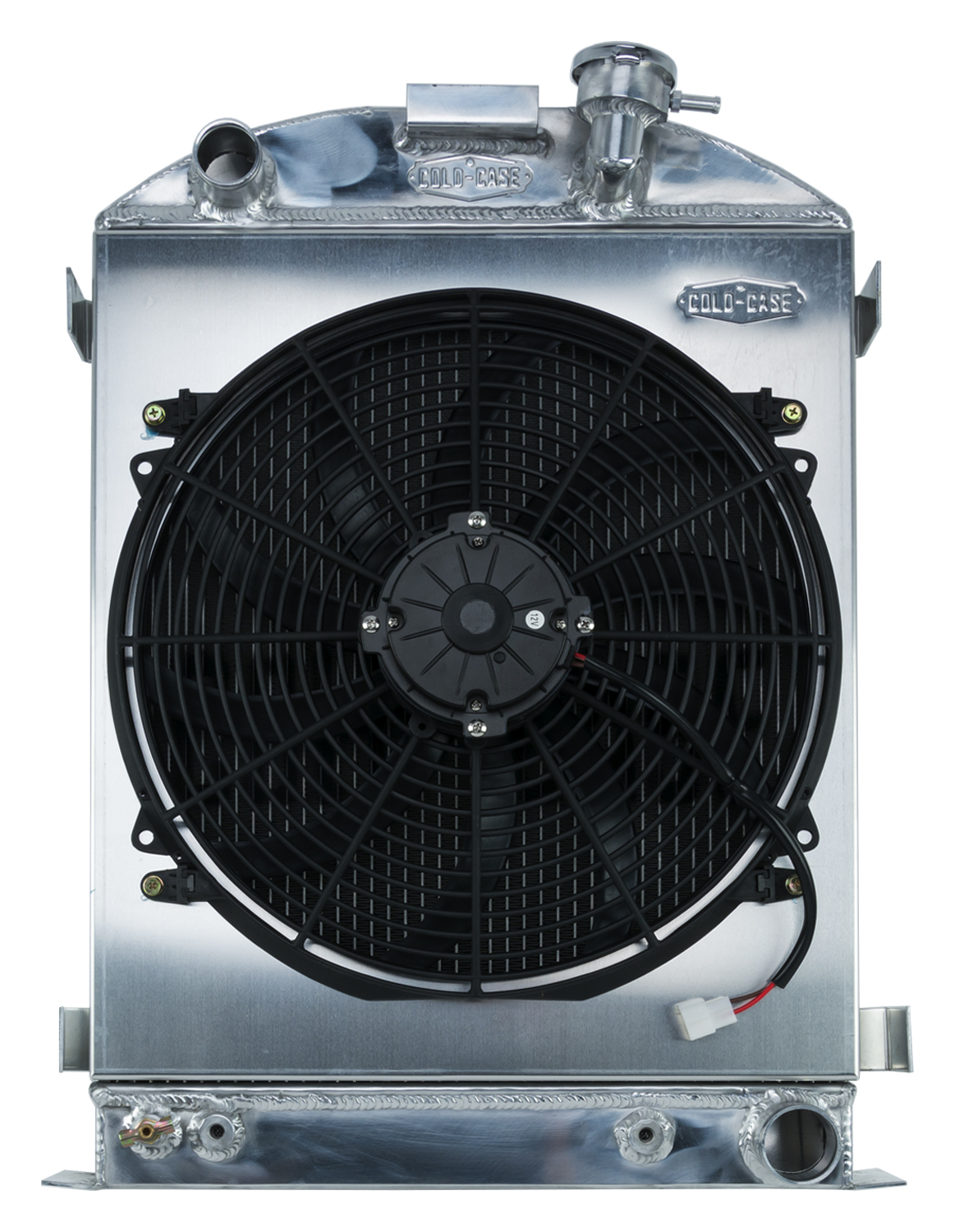 Cold Case 1932 Highboy Chevy Engine 25.5 Inch Aluminum Performance Radiator and 16 Inch Fan Kit