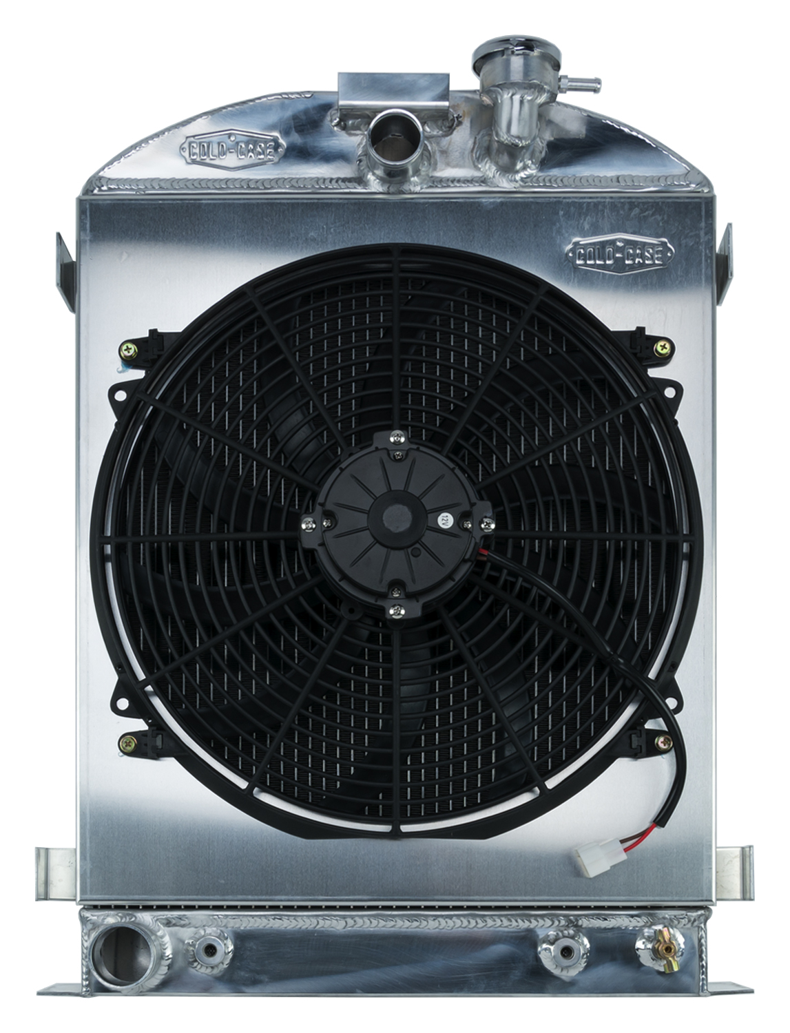 Cold Case 1932 Highboy Ford Engine 25.5 Inch Aluminum Performance Radiator And 16 Inch Fan Kit