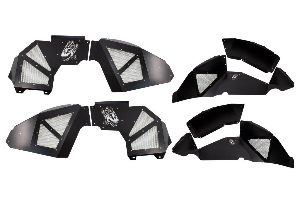 Fishbone Offroad Front and Rear Aluminum Inner Fenders - Black  - JL 4Dr
