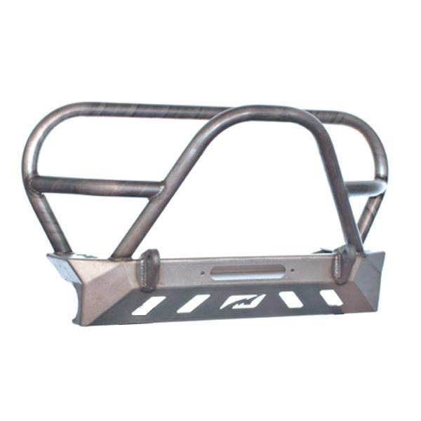 Jeep YJ TJ LJ Front Bumper W/Grill Hoop and Stinger Bare Steel Motobilt