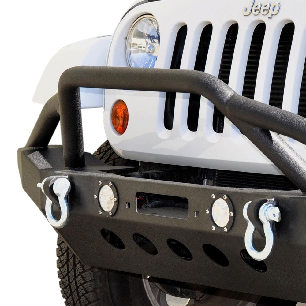 Jeep JK/JL Front Bumper w/LED Lights 07-18 Wrangler JK/JL Steel Mid Length DV8 Offroad