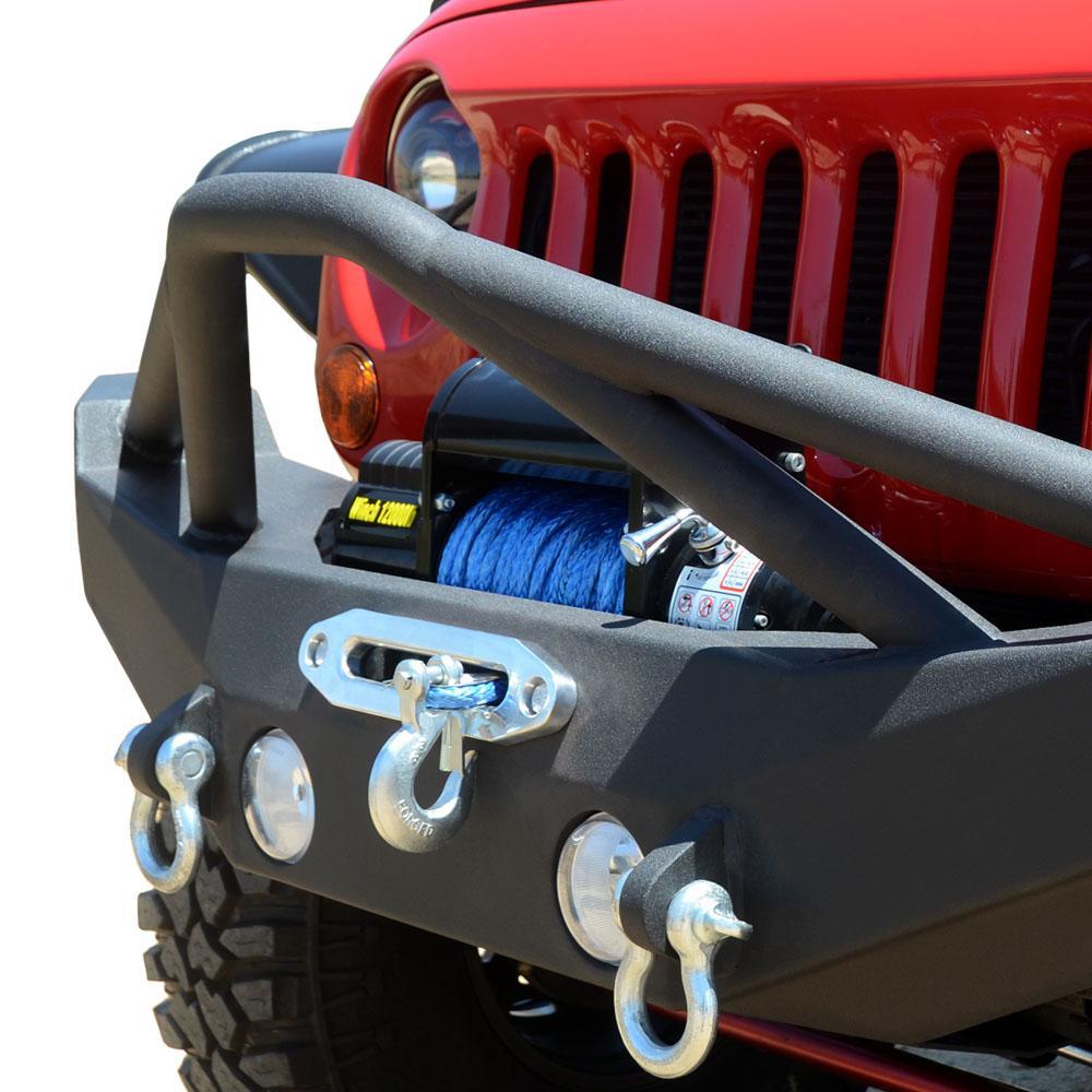 Jeep JK Front Bumper w/Skid Plate 07-18 Wrangler JK Steel Full Length DV8 Offroad