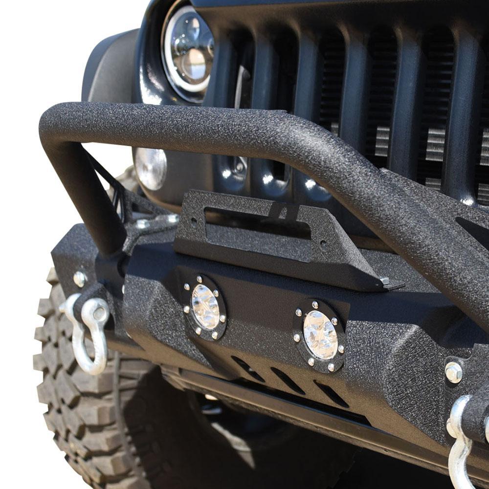 Jeep JK Front Bumper w/LED Lights 07-18 Wrangler JK Steel Mid Length Stubby W/Winch Plate DV8 Offroad