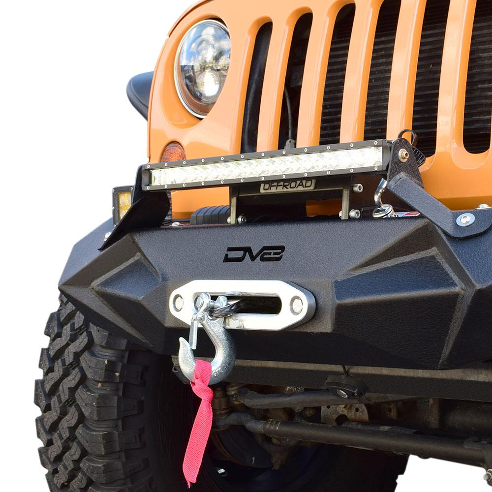 Jeep JK/JL Front Bumper w/Light Bracket Winch Plate 07-18 Wrangler JK/JL Steel Stubby DV8 Offroad