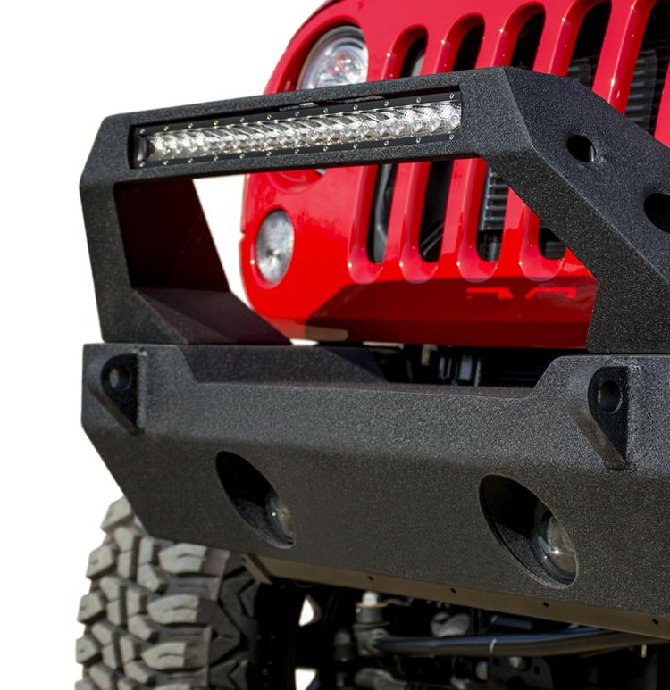 Jeep JK/JL Front Bumper Fits DV8 20 Inch Light Bar and Winch Plate 07-18 Jeep JK/JL Wrangler Steel Stubby DV8 Offroad
