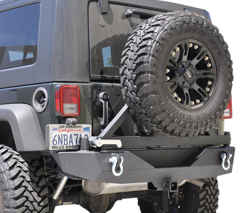 Jeep JK Rear Bumper W/Tire Carrier 07-18 Wrangler JK Aluminum Handle Black DV8 Offroad