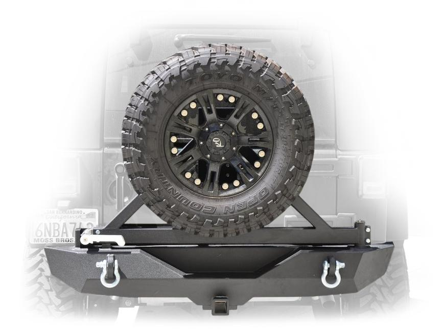 Jeep JK Rear Bumper W/Tire Carrier Tapered Bearing 07-18 Wrangler JK Black DV8 Offroad