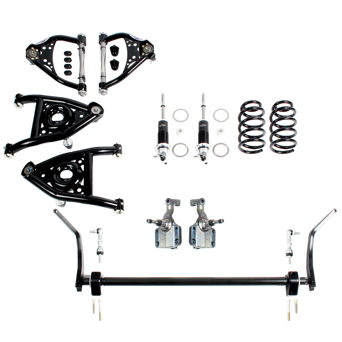 Detroit Speed  Speed Kit 2 with Splined Sway Bar Front Suspension Kit Double Adjustable Shocks w/Remote Canister 1967 A-Body SBC LS