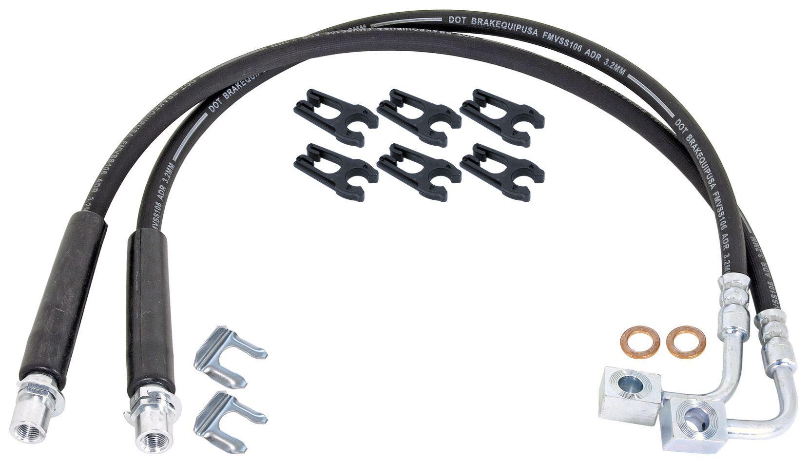 RockJock Extended Rear Braided Brake Hose Kit - JT