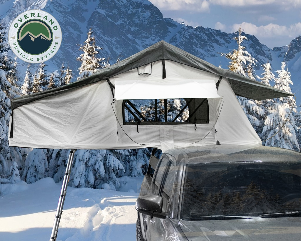 Overland Vehicle Systems Nomadic 3 Arctic Extended Roof Top Tent - White/Dark Grey